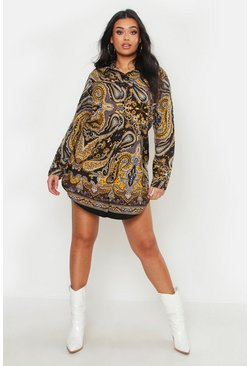 Womens Black Plus Scarf Print Oversized Shirt Dress