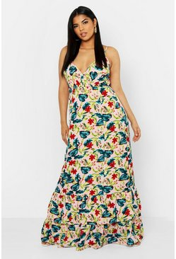 Womens Blush Plus Tropical Floral Ruffle Hem Maxi Dress