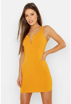 Womens Mustard Petite V-Bar Detail Cross Back Pinafore Dress