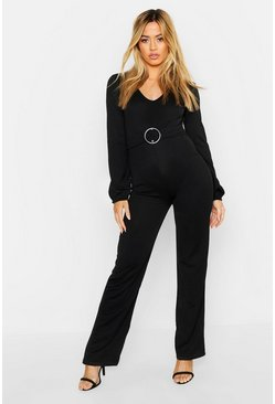 Womens Black Petite Buckle Detail Plunge Jumpsuit
