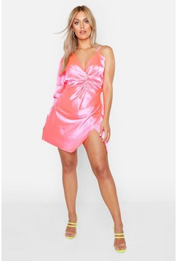 Womens Bright pink Plus Satin One Shoulder Wrap Dress