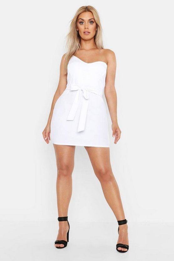 Womens White Plus Plunge Cup Detail Bodycon Dress