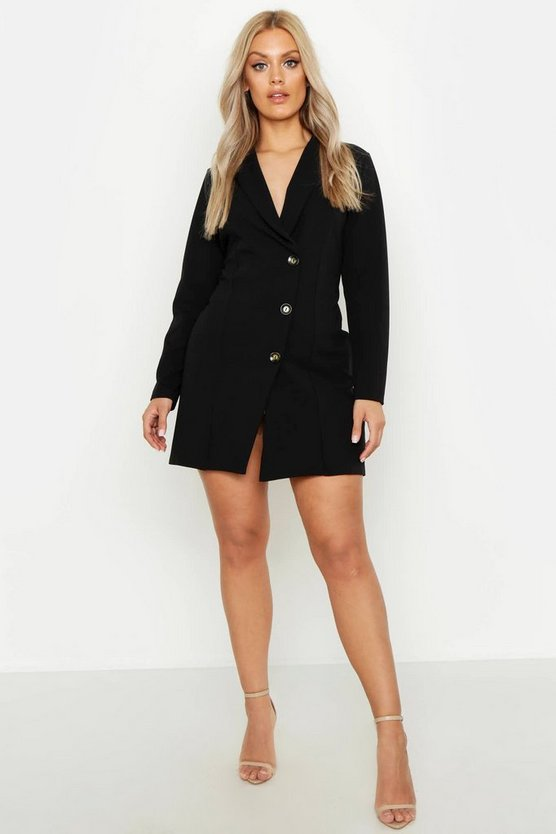 Womens Black Plus Button Detail Blazer Dress