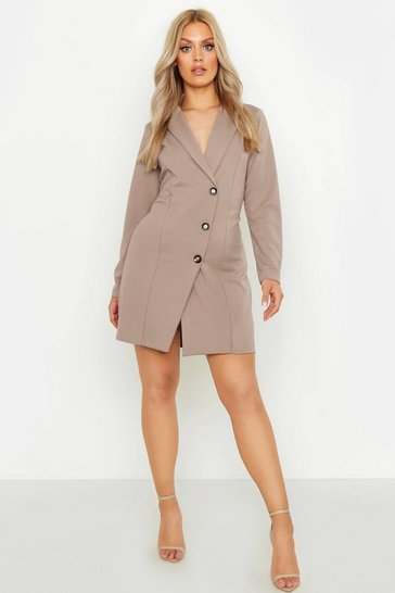 Womens Mocha Plus Button Detail Blazer Dress