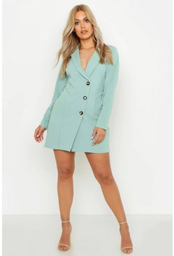 Womens Sage Plus Button Detail Blazer Dress