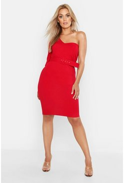 Womens Red Plus One Shoulder Belted Midi Dress