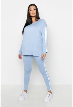 Baby blue Plus Side Stripe Lounge Set