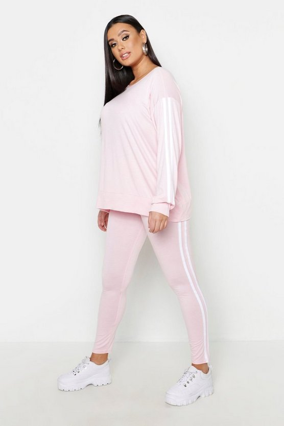 Womens Baby pink Plus Side Stripe Lounge Set