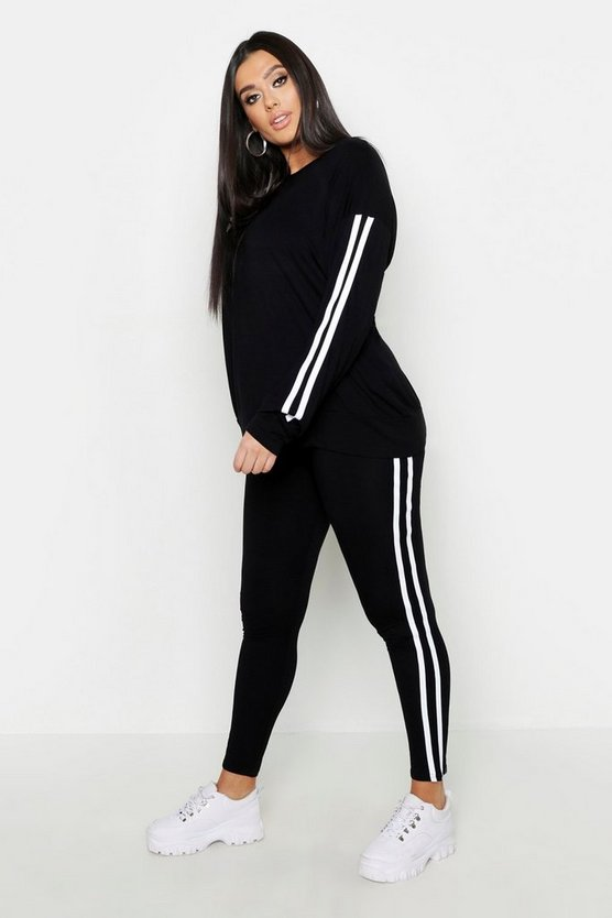 Womens Black Plus Side Stripe Lounge Set