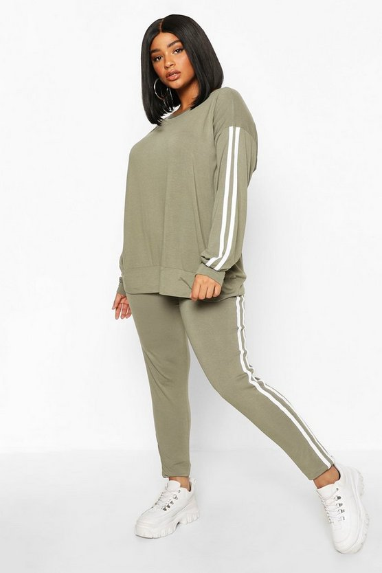 Womens Khaki Plus Side Stripe Lounge Set