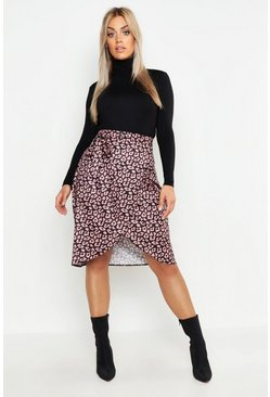 Womens Pink Plus Snake Print Ruffle Wrap Skirt