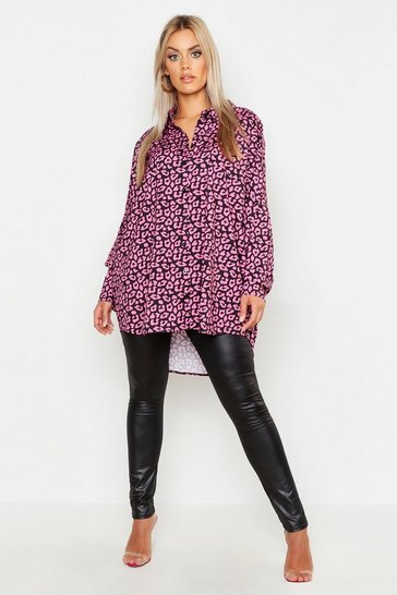 Womens Black Plus Leopard Oversized Shirt