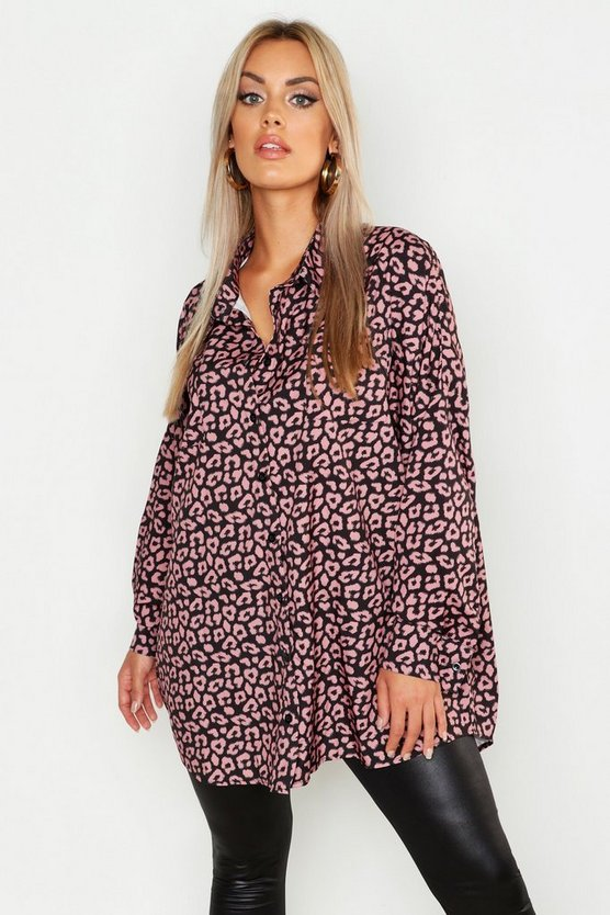 Womens Pink Plus Leopard Oversized Shirt