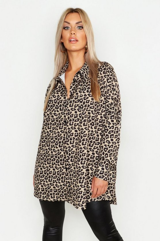 Womens Yellow Plus Leopard Oversized Shirt