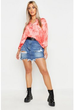 Womens Coral Plus Tie Dye Shirt