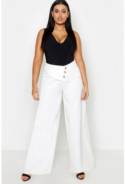 Womens Cream Plus Cut Out Wide Leg Trouser