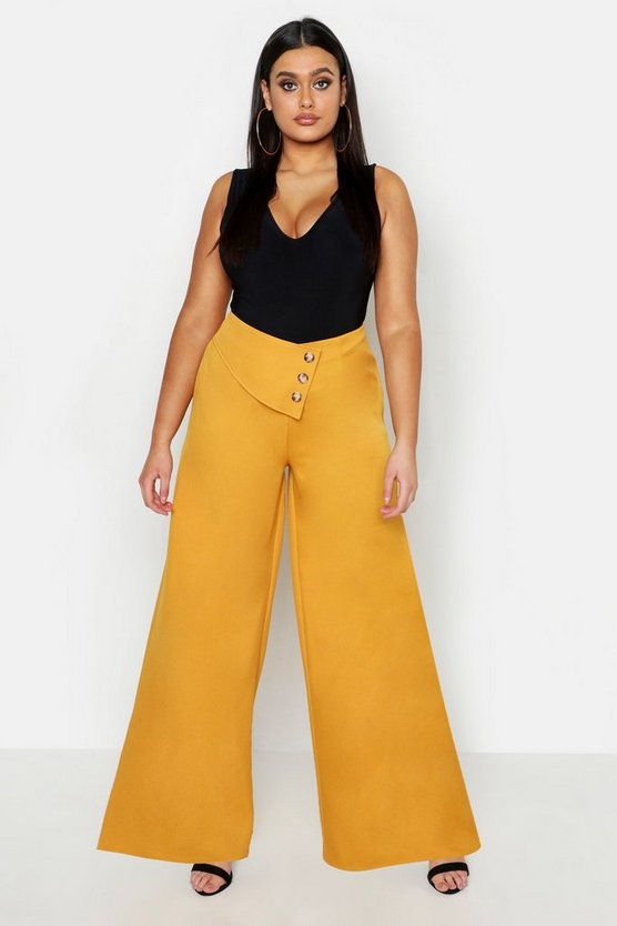 Womens Mustard Plus Cut Out Wide Leg Trouser