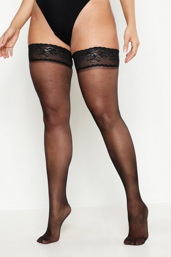 Womens Black Plus Lace Hold Up Stockings