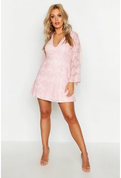 Womens Pink Plus Lace Plunge Skater Dress