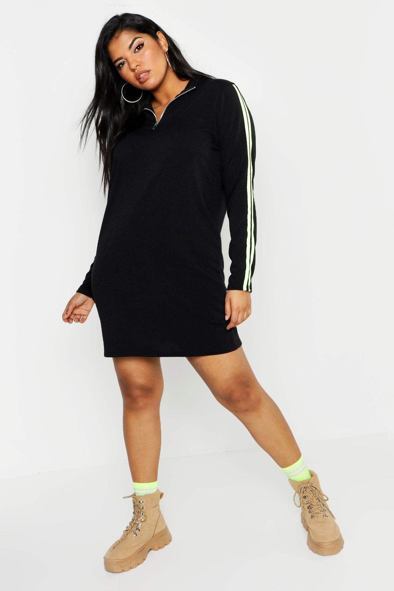 Plus Neon Side Stripe Sweat Dress