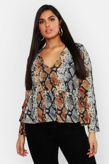 Womens Rust Plus Woven Snake Print Peplum Top