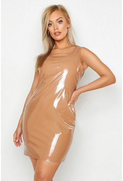 Womens Camel Plus High Shine Vinyl Bodycon Dress