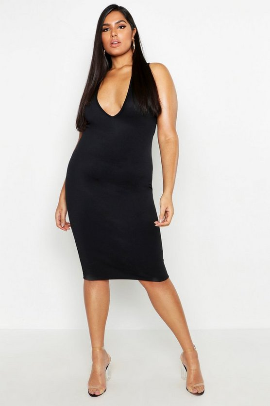 Womens Black Plus Plunge Bodycon Midi Dress