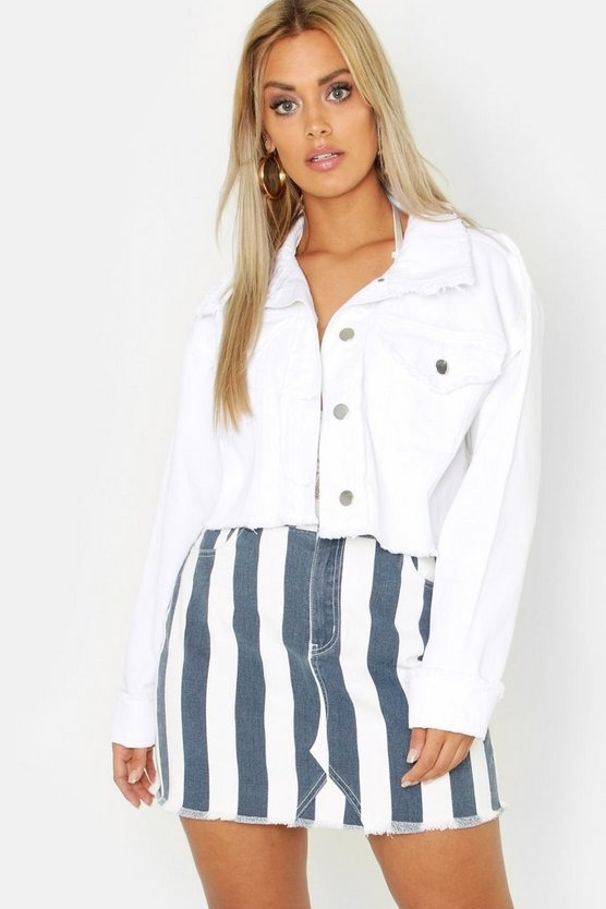 Womens White Plus Frayed Edge Cropped Denim Jacket