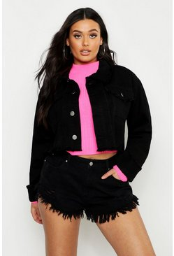 Womens Black Plus Frayed Edge Cropped Denim Jacket