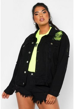 Womens Black Plus Distressed Oversized Denim Jacket