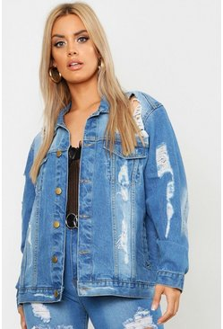 Mid wash Plus Distressed Oversized Denim Jacket