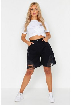 Womens Black Plus Distressed Mom Denim Shorts