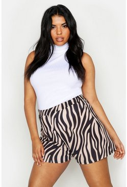 Womens Beige Plus Zebra Print Floaty Shorts