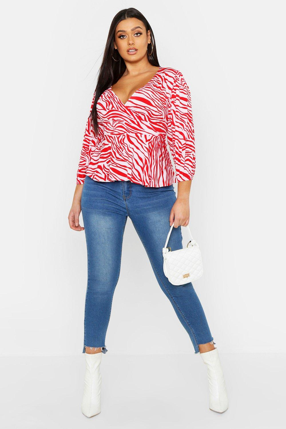 Plus Zebra Print Wrap Tie Peplum Top