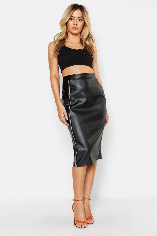 Petite PU Zip Detail Midi Skirt