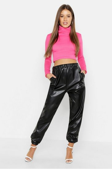 Womens Black Petite PU Pocket Detail Jogger