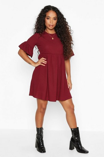 Berry Petite Ribbed Frill Sleeve Smock Dress