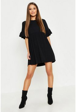 Womens Black Petite Ribbed Frill Sleeve Smock Dress