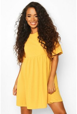Womens Mustard Petite Ribbed Frill Sleeve Smock Dress