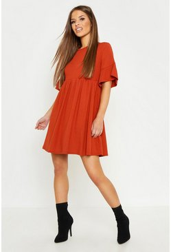 Terracotta Petite Ribbed Frill Sleeve Smock Dress