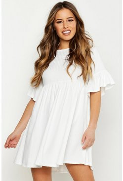 Womens White Petite Ribbed Frill Sleeve Smock Dress