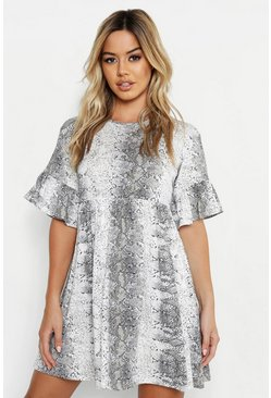 Grey Petite Snake Print Ruffle Smock Dress