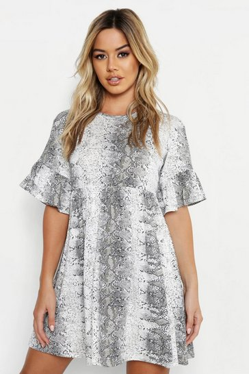 Womens Grey Petite Snake Print Ruffle Smock Dress