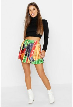 Womens Red Petite Chain Print Pleated Mini Skirt