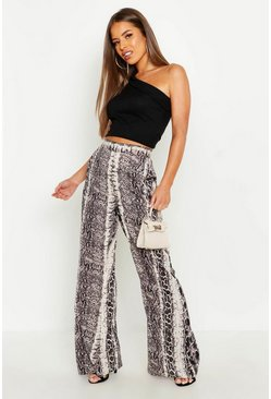 Taupe Petite Wide Leg Snake Trouser