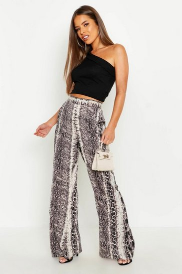 Womens Taupe Petite Wide Leg Snake Trouser