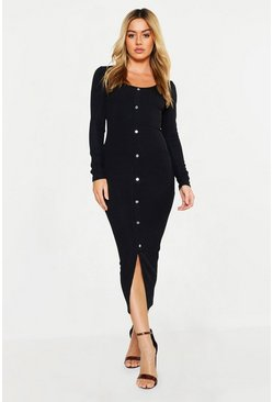 Womens Black Petite Ribbed Button Down Midaxi Dress