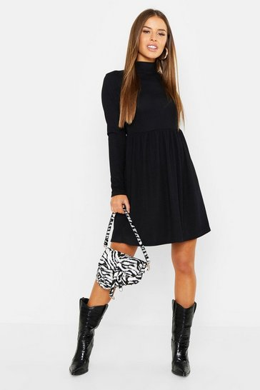Womens Black Petite Rib Turtle Neck Smock Dress