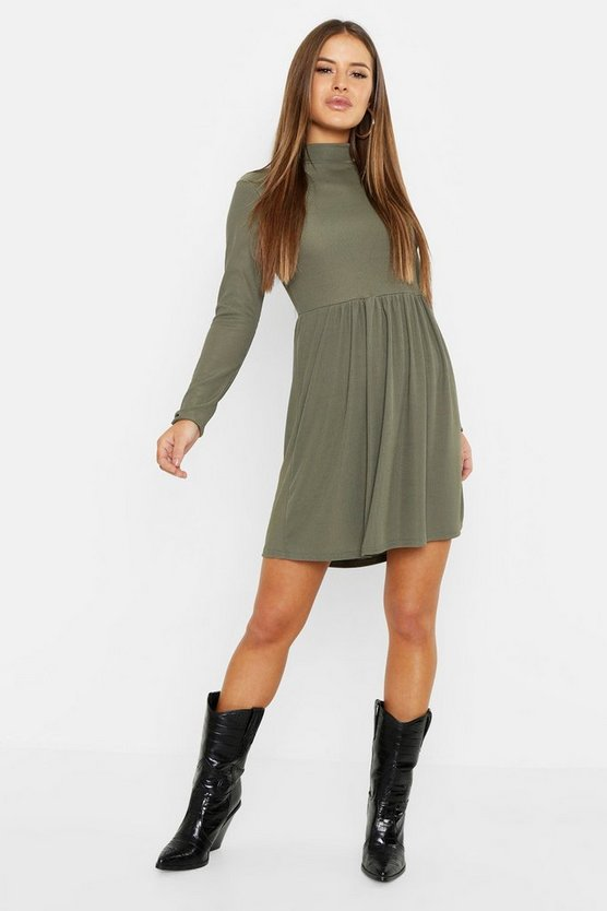 Petite Rib Turtle Neck Smock Dress
