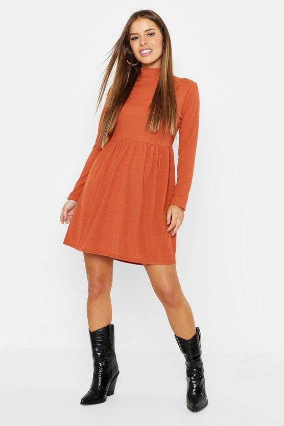 Womens Terracotta Petite Rib Turtle Neck Smock Dress